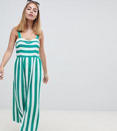 Платье макси в полоску на пуговицах с добавлением льна ASOS DESIGN Petite - Мульти