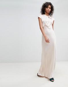 Атласное платье макси с короткими рукавами Ghost - Кремовый