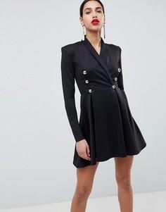 11b13a0b53fc Короткое приталенное платье-смокинг с длинными рукавами Club L - Черный