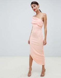 Платье на одно плечо с асимметричным краем City Goddess - Розовый
