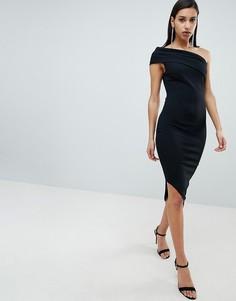 Платье на одно плечо с асимметричным краем City Goddess - Черный
