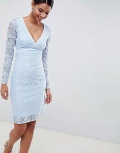 Платье-футляр с длинными рукавами, V-образным вырезом, открытой спиной и бантом City Goddess - Синий