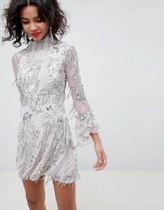 Короткое приталенное платье с отделкой пайетками и бахромой ASOS EDITION - Серый