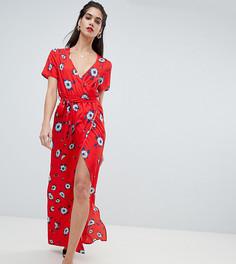 Платье с запахом, разрезом и цветочным принтом Boohoo - Мульти