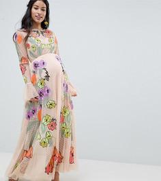 Платье макси с цветочной вышивкой ASOS EDITION Maternity - Бежевый
