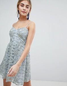 Платье мини на бретельках для выпускного Dolly & Delicious - Зеленый