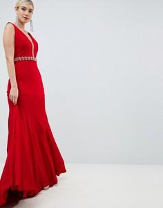 Платье макси с декорированной талией Jovani - Красный