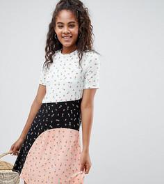 Платье-футболка колор блок с цветочным принтом ASOS DESIGN Tall - Мульти