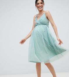 Платье миди с цветочной аппликацией Little Mistress Maternity - Зеленый