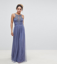 Платье макси с цветочной аппликацией Little Mistress Petite - Синий