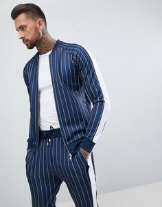 Обтягивающий спортивный топ в тонкую полоску с широкой полосой по бокам The Couture Club - Темно-синий