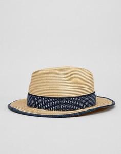 Соломенная шляпа-федора Ted Baker - Бежевый