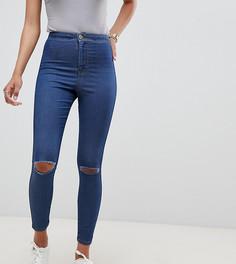 Джеггинсы с завышенной талией и рваными коленями ASOS DESIGN Rivington - Синий