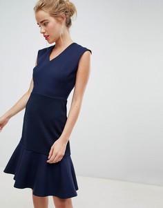 Темно-синее приталенное платье с асимметричным краем Closet London - Темно-синий