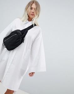 Свободное белое платье-рубашка Weekday - Белый