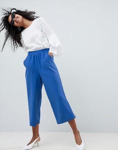 Укороченные брюки прямого кроя из трикотажного крепа ASOS DESIGN - Темно-синий