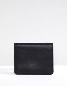 Кожаный бумажник с карманом на молнии Esprit - Черный