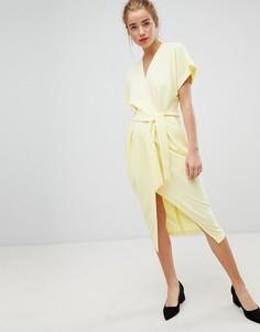 Лимонно-желтое платье с короткими рукавами Closet London - Желтый