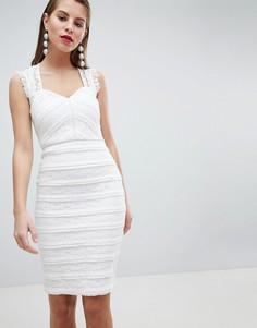 Облегающее платье со спущенными плечами и оборкой Lipsy - Белый