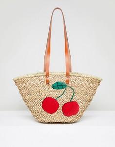 Структурированная пляжная сумка с отделкой в виде вишен Vincent Pradier - Мульти