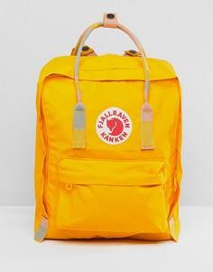 Желтый рюкзак с контрастной ручкой сверху и лямками Fjallraven - Желтый