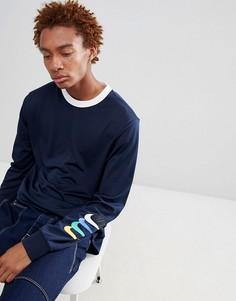 Темно-синий лонгслив с принтом на рукаве Nike SB 886100-451 - Темно-синий