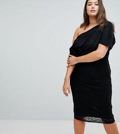 Кружевное платье миди со складками на плечах ASOS DESIGN Curve - Черный