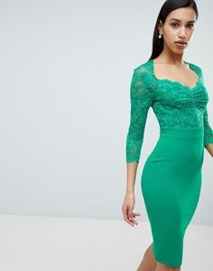 Платье миди с кружевом и рукавами 3/4 City Goddess - Зеленый