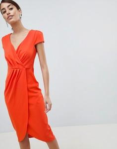 Платье-футляр миди с открытыми плечами и запахом City Goddess - Оранжевый