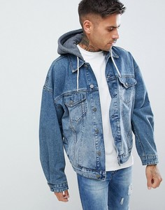 Джинсовая куртка с трикотажным капюшоном ASOS DESIGN - Синий