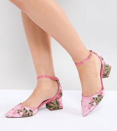 Туфли на каблуке для широкой стопы с вышивкой ASOS DESIGN Shakira - Розовый