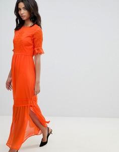 Кружевное платье макси с вышивкой Y.A.S - Оранжевый