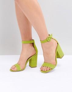 Замшевые босоножки на каблуке с пряжками Steve Madden Friday - Зеленый