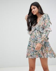 Платье мини с мелким цветочным принтом Raga - Синий