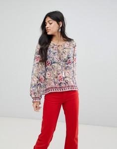 Блузка с принтом и отделкой кисточками Raga - Розовый