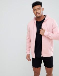 Худи розового цвета на молнии ASOS DESIGN - Розовый