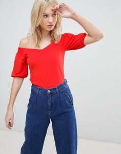 Топ с открытыми плечами и пышными рукавами Vero Moda - Красный