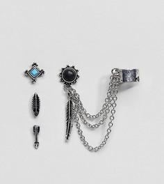 Серьги-гвоздики и каффы с камнями и перьями ASOS DESIGN - Серебряный