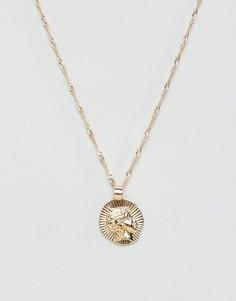 Ожерелье с подвеской-медальоном ASOS DESIGN - Золотой