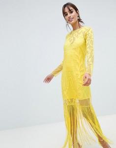 Платье макси с вышивкой и отделкой бахромой ASOS DESIGN - Желтый