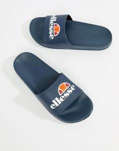 Темно-синие шлепанцы с крупным логотипом ellesse - Темно-синий