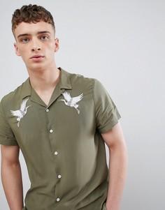 Рубашка цвета хаки с отложным воротником и вышивкой River Island - Зеленый