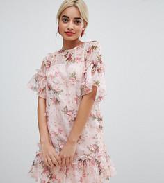 Платье мини А-силуэта с 3D цветочной отделкой ASOS DESIGN Petite - Мульти