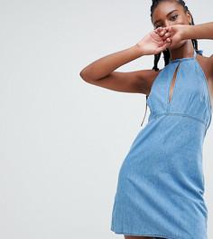 Выбеленное синее джинсовое платье с халтером ASOS DESIGN Tall - Синий