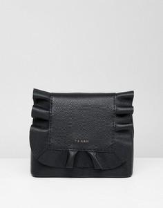 Кожаный рюкзак с рюшами Ted Baker - Черный