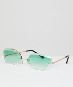 Зеленые солнцезащитные очки кошачий глаз без оправы AJ Morgan - Зеленый