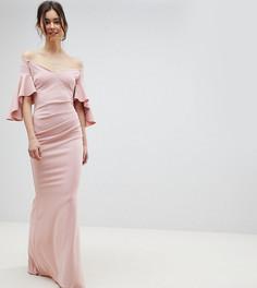 Платье макси с широким вырезом и длинными рукавами City Goddess Tall - Розовый
