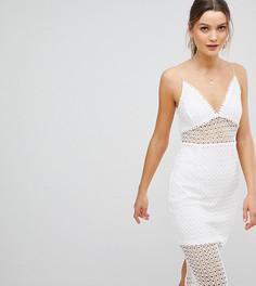 Кружевное платье миди на бретелях PrettyLittleThing - Белый