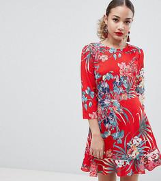 Платье с открытой спиной, оборками и цветочным принтом Boohoo - Мульти