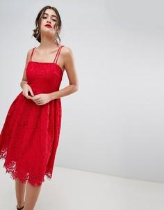 Кружевное короткое приталенное платье New Look - Красный